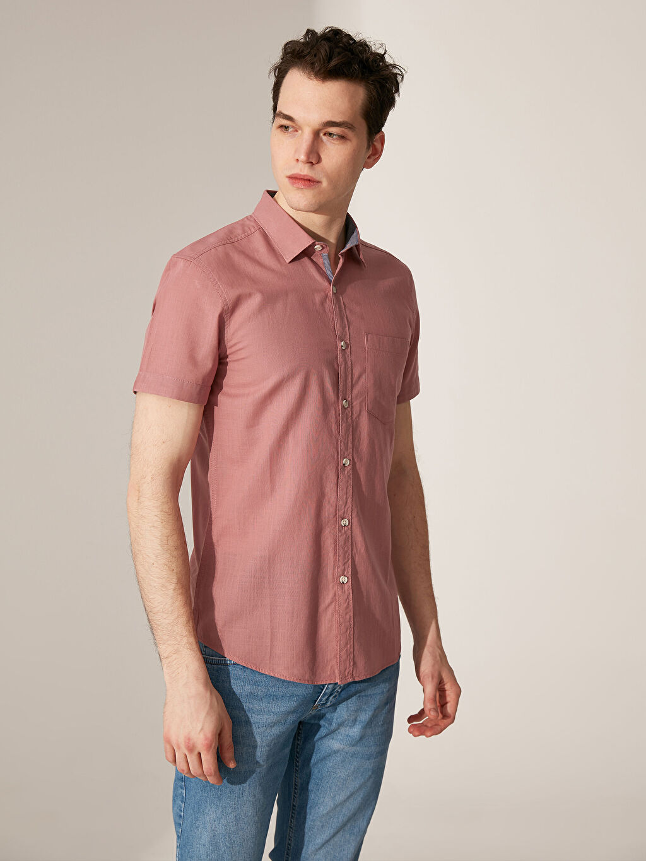 %100 Pamuk Düz En Dar Kısa Kol Gömlek Düğmesiz Ekstra Slim Fit Kısa Kollu Poplin Gömlek