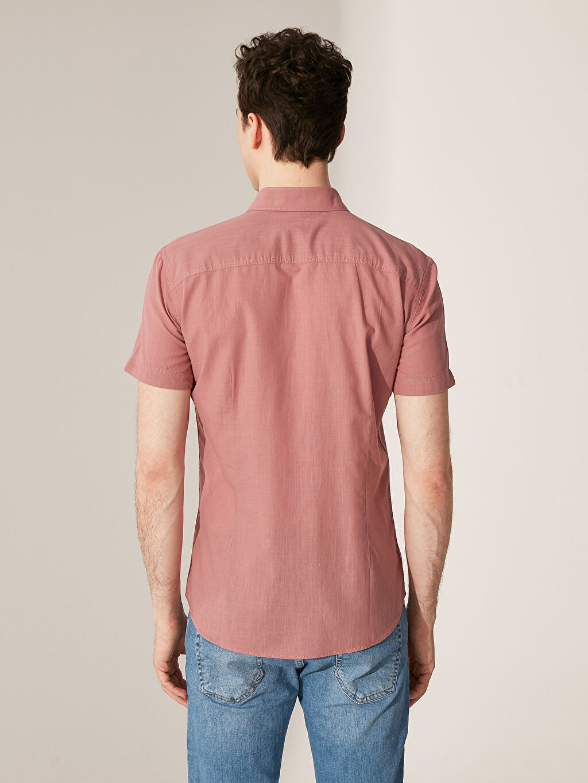 Erkek Ekstra Slim Fit Kısa Kollu Poplin Gömlek