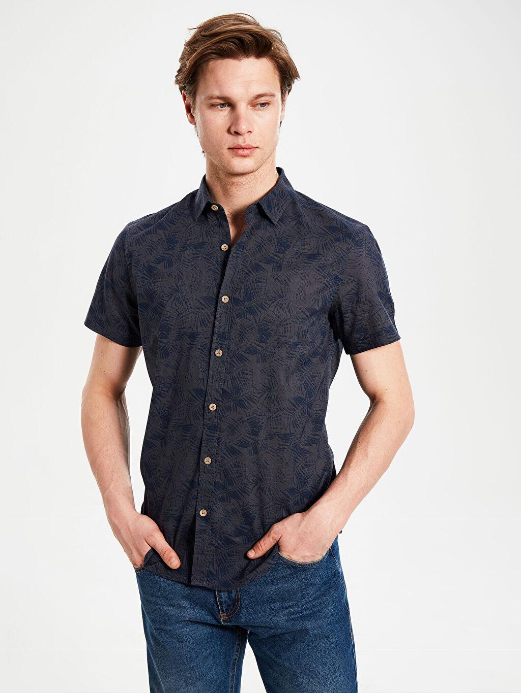 Lacivert Ekstra Slim Fit Desenli Kısa Kollu Gömlek 0S7576Z8 LC Waikiki