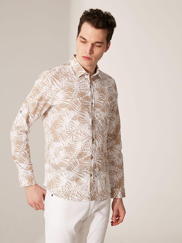 Bej Ekstra Slim Fit Desenli Gömlek 0S7590Z8 LC Waikiki