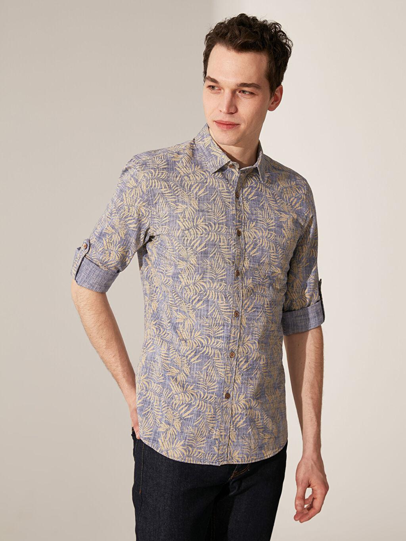 %100 Pamuk Desenli En Dar Uzun Kol Gömlek Düğmesiz Ekstra Slim Fit Desenli Gömlek