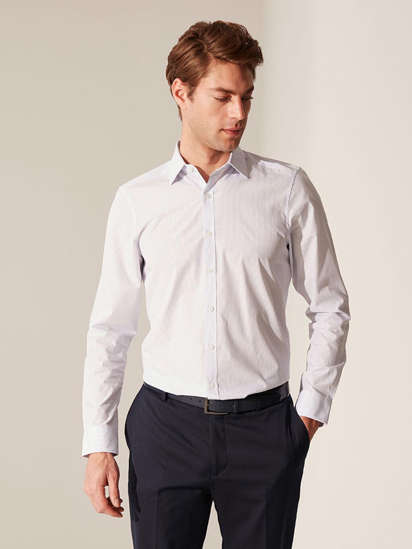%60 Pamuk %40 Polyester Dar Çizgili Uzun Kol Gömlek Düğmesiz Slim Fit Çizgili Gömlek