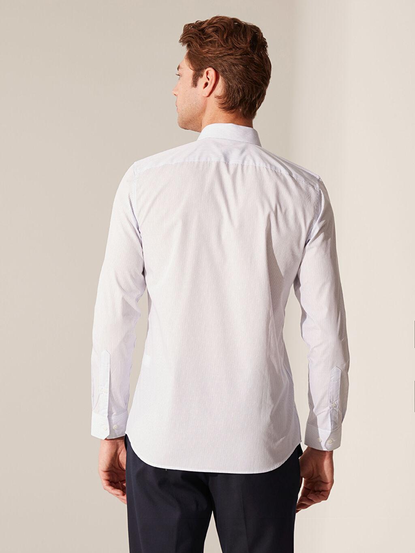 Erkek Slim Fit Çizgili Gömlek