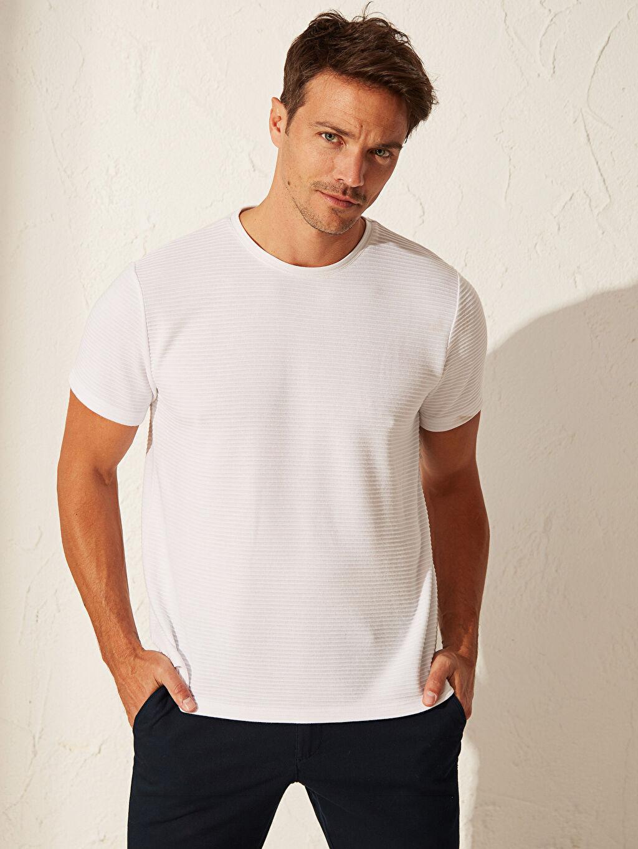Beyaz Slim Fit Basic Tişört 0S7604Z8 LC Waikiki