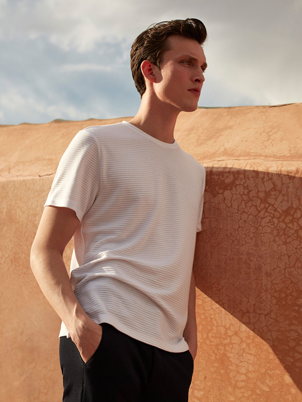 Beyaz Slim Fit Basic Tişört