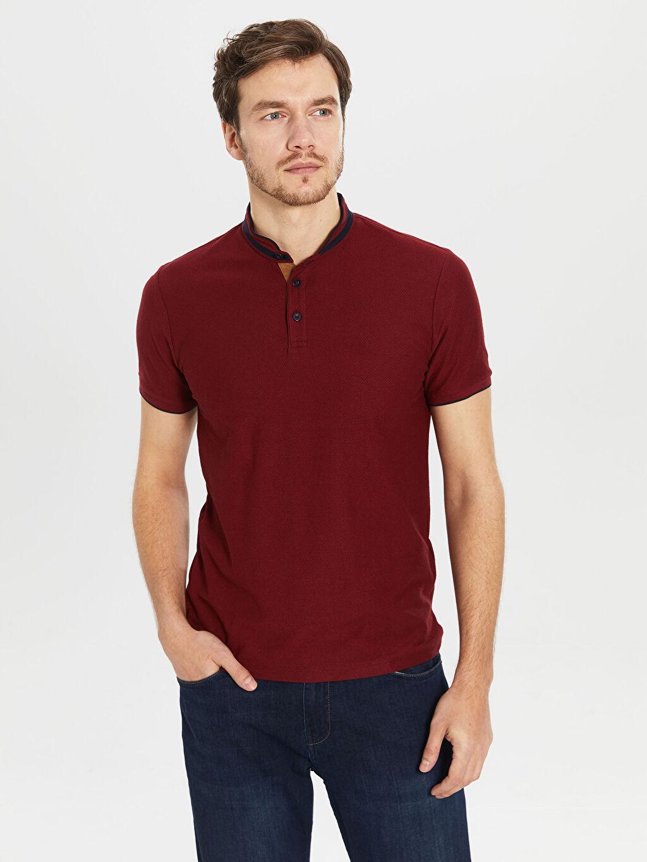 %52 Pamuk %48 Polyester Dar Düz Kısa Kol Tişört Diğer Dik Yaka Pike Tişört