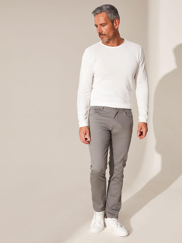 Gri Slim Fit Armürlü Pantolon 0S7607Z8 LC Waikiki