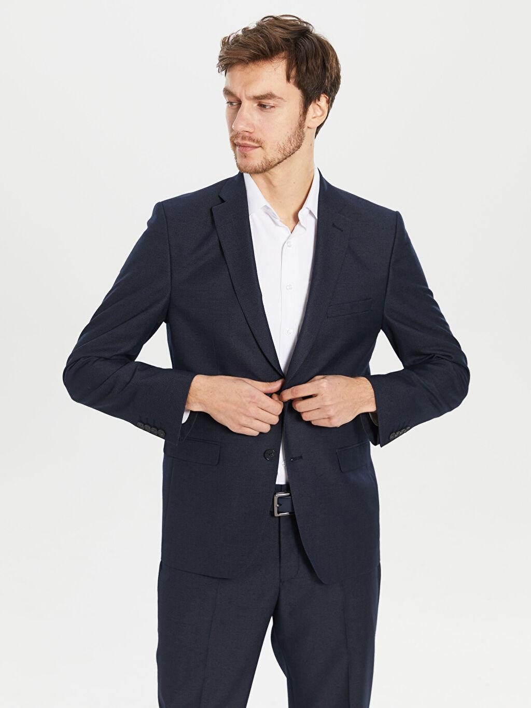 Lacivert Standart Kalıp Takım Elbise Ceketi 0S7808Z8 LC Waikiki
