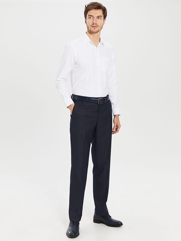 %68 Polyester %32 Viskon Normal Bel Normal Pileli Pantolon Standart Kalıp Takım Elbise Pantolonu