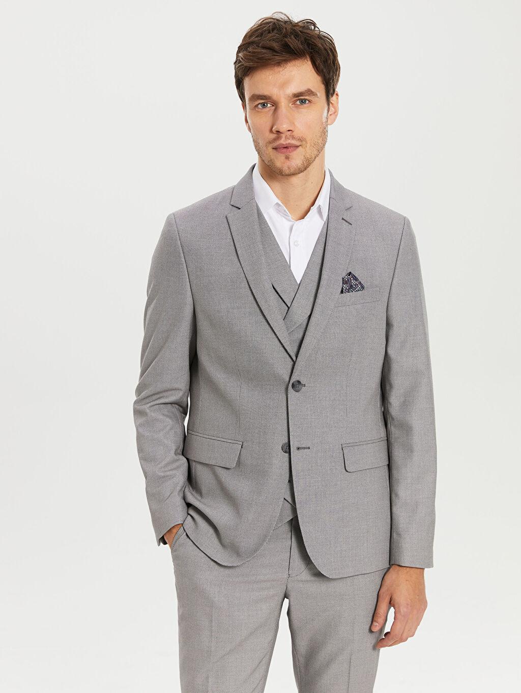 Gri Ekstra Dar Kalıp Takım Elbise Ceketi 0S7815Z8 LC Waikiki