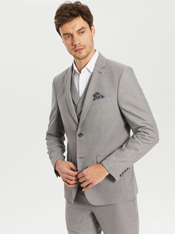 %72 Polyester %2 Elastan %26 Viskoz %100 Polyester  Ekstra Dar Kalıp Takım Elbise Ceketi