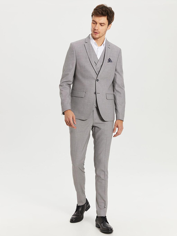 %72 Polyester %2 Elastan %26 Viskoz Ekstra Dar Kalıp Takım Elbise Ceketi