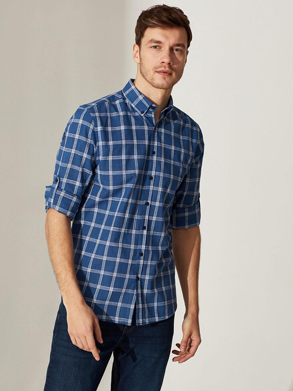 %100 Pamuk Normal Uzun Kol Ekoseli Gömlek Düğmeli Regular Fit Ekose Gömlek