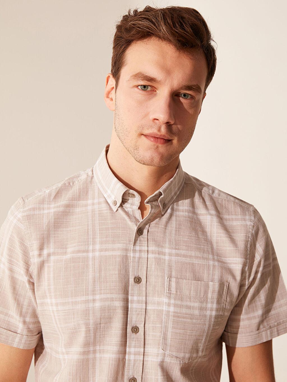%100 Pamuk Normal Kısa Kol Ekoseli Gömlek Düğmeli Regular Fit Kısa Kollu Ekose Gömlek