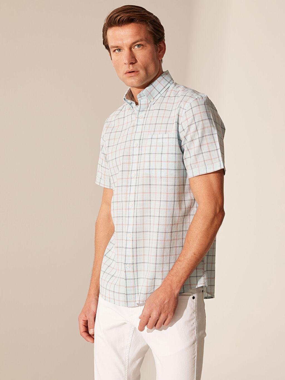 %100 Pamuk Normal Kısa Kol Ekoseli Gömlek Düğmeli Regular Fit Ekose Kısa Kollu Gömlek