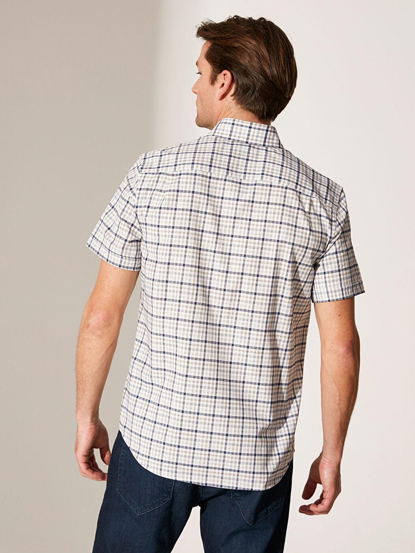 %52 Pamuk %48 Polyester Regular Fit Ekose Kısa Kollu Gömlek