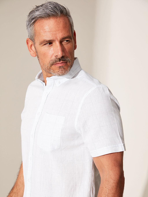 %86 Pamuk %14 Keten Normal Kısa Kol Düz Gömlek Düğmeli Regular Fit Desenli Keten Gömlek