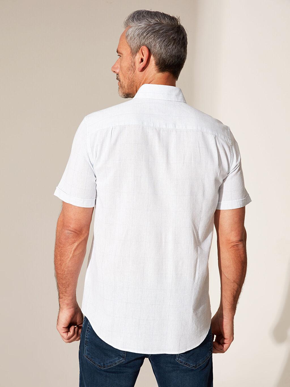 Erkek Regular Fit Desenli Keten Gömlek