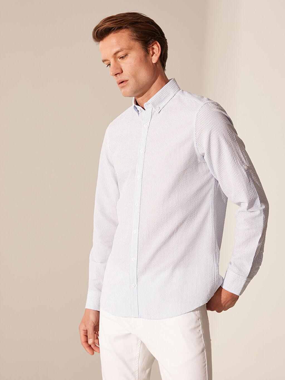 %100 Pamuk Dar Uzun Kol Düz Gömlek Düğmeli Slim Fit Çizgili Gömlek