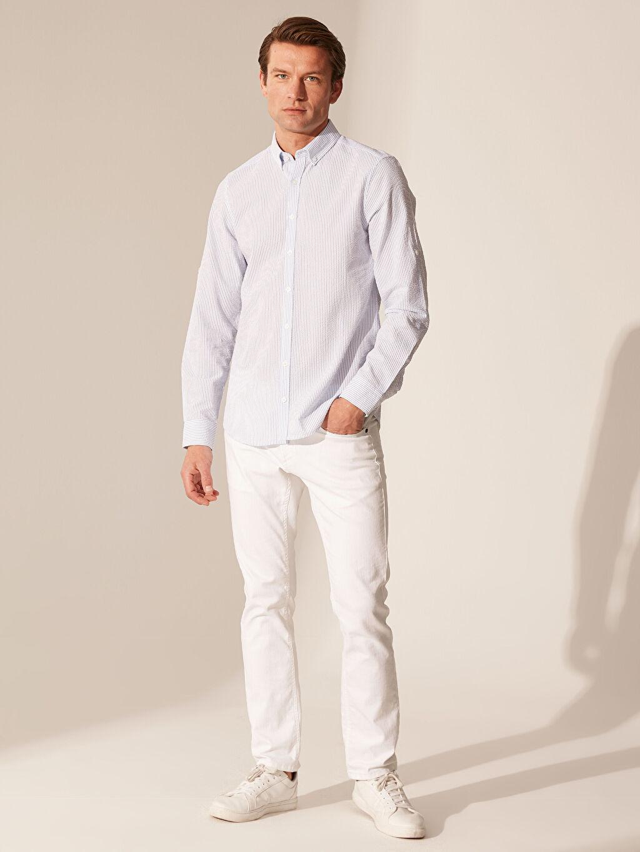 Mavi Slim Fit Çizgili Gömlek