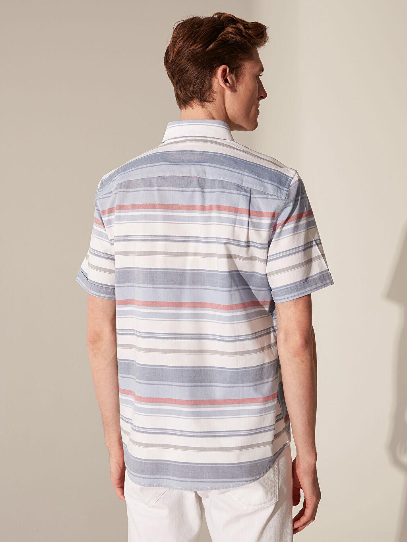 Erkek Regular Fit Çizgili Kısa Kollu Gömlek