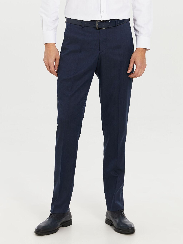 %72 Polyester %3 Elastan %25 Viskoz Dar Kalıp Takım Elbise Pantolonu