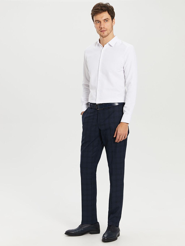 %66 Polyester %34 Viskoz Normal Bel Dar Pileli Pantolon Dar Kalıp Takım Elbise Pantolonu