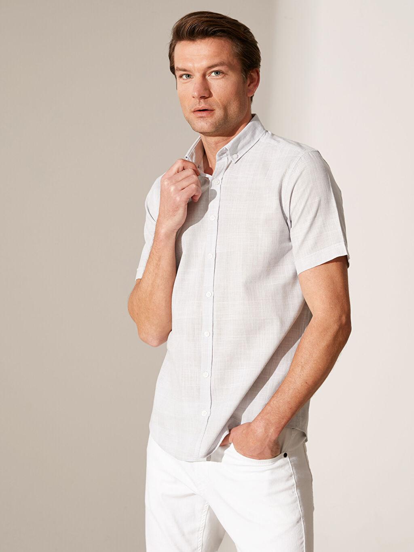 Gri Slim Fit Ekose Kısa Kollu Gömlek 0S7949Z8 LC Waikiki