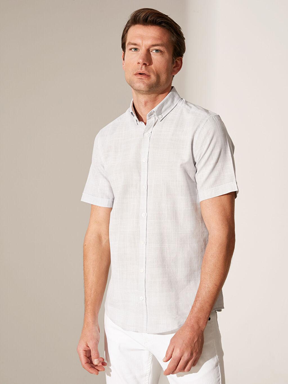 %100 Pamuk Dar Kısa Kol Ekoseli Gömlek Düğmeli Slim Fit Ekose Kısa Kollu Gömlek