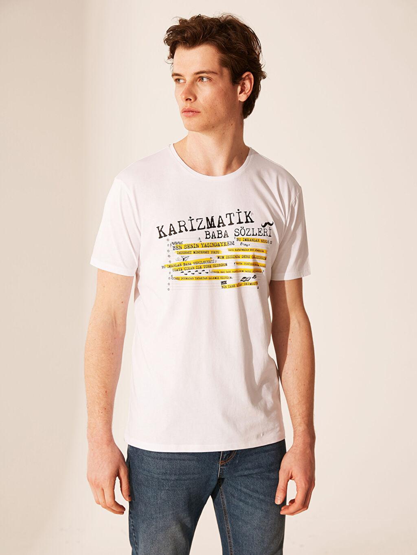 Beyaz Bisiklet Yaka Baskılı Penye Tişört 0S7963Z8 LC Waikiki