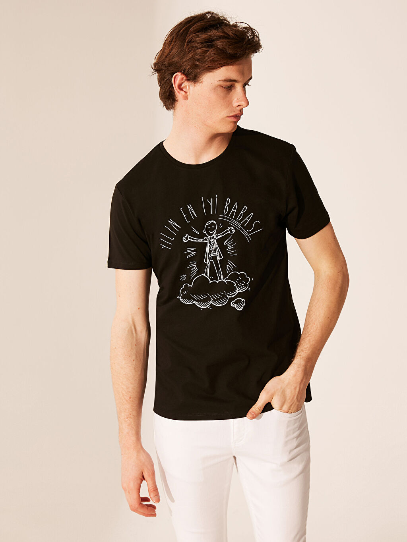 Siyah Bisiklet Yaka Baskılı Tişört 0S7988Z8 LC Waikiki