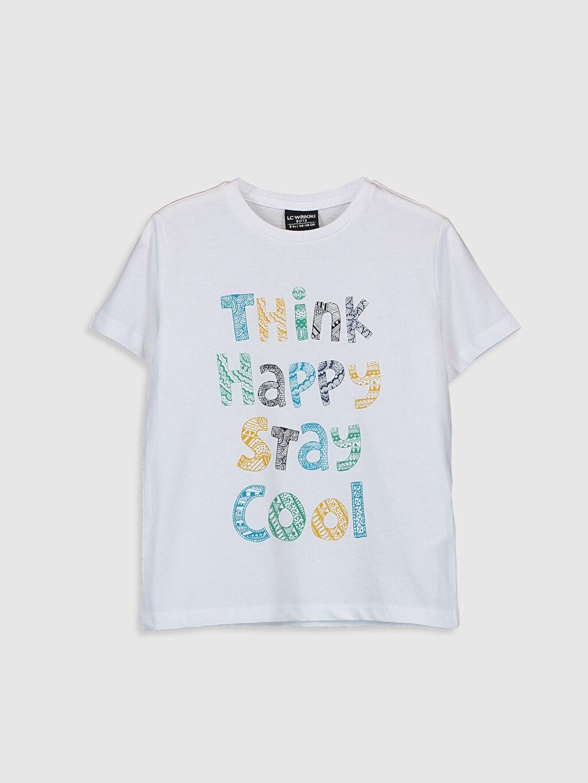 Beyaz Erkek Çocuk Yazı Baskılı Pamuklu Tişört 0S7993Z4 LC Waikiki