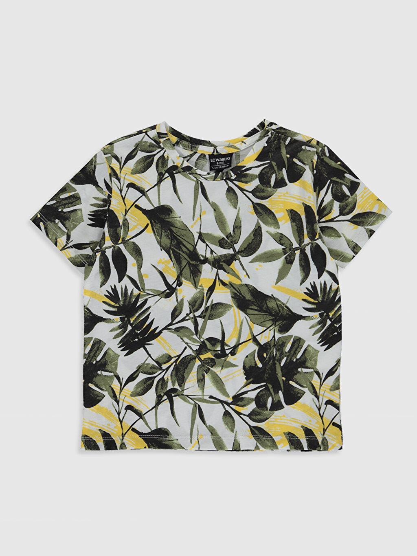 Ekru Erkek Çocuk Baskılı Pamuklu Tişört 0S8027Z4 LC Waikiki