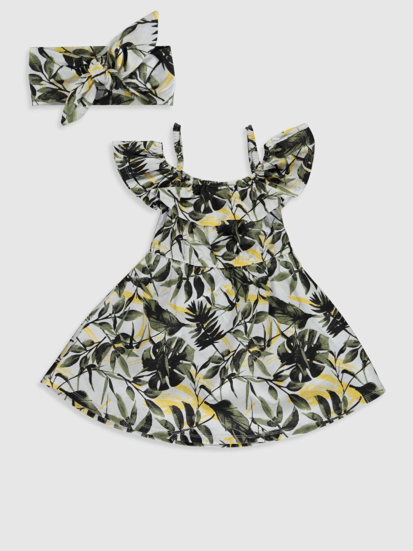 Ekru Kız Çocuk Omuzu Açık Pamuklu Elbise ve Saç Bandı 0S8029Z4 LC Waikiki