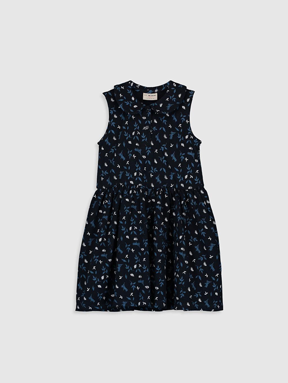 Lacivert Kız Çocuk Desenli Pamuklu Elbise 0S8037Z4 LC Waikiki