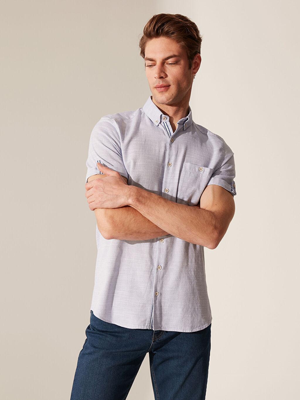 %100 Pamuk Dar Kısa Kol Düz Gömlek Düğmeli Slim Fit Kısa Kollu Armürlü Gömlek