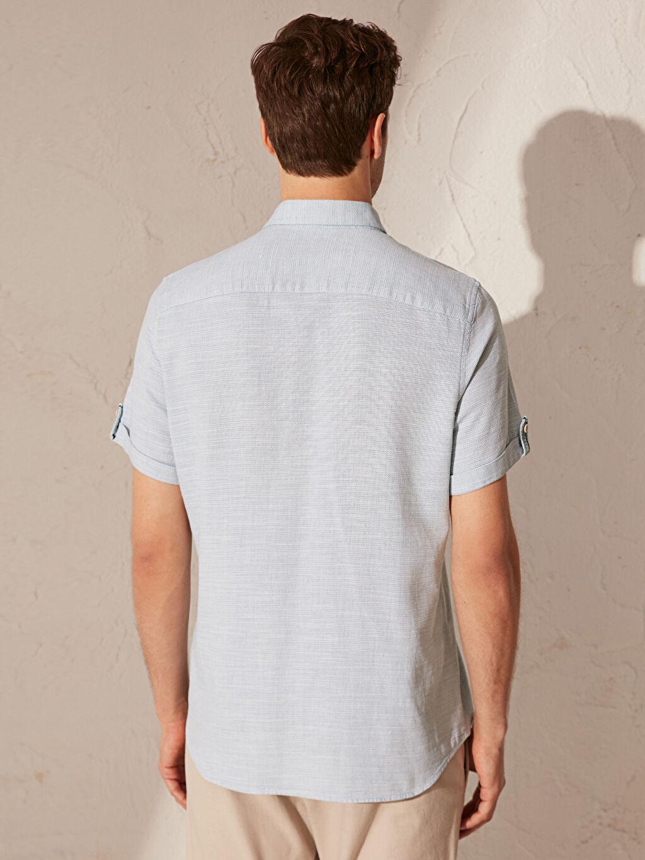 %100 Pamuk Slim Fit Kısa Kollu Armürlü Gömlek