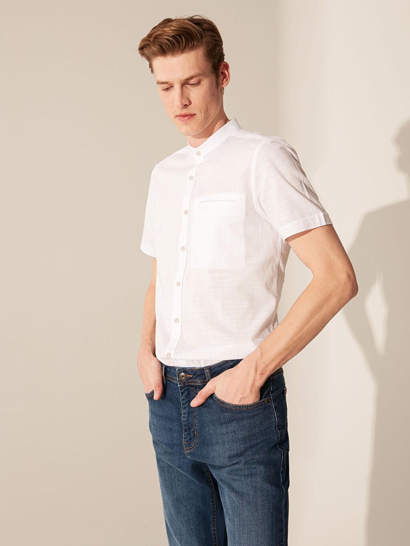%100 Pamuk Düz Gömlek Düğmeli Dar Kısa Kol Slim Fit Kısa Kollu Poplin Gömlek