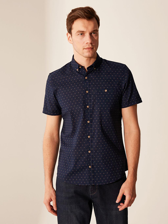 %100 Pamuk Dar Desenli Kısa Kol Gömlek Düğmeli Slim Fit Desenli Kısa Kollu Gömlek