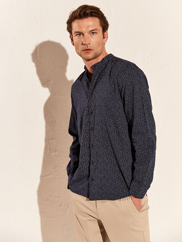 %85 Pamuk %15 Keten Dar Desenli Uzun Kol Gömlek Düğmeli Slim Fit Desenli Keten Gömlek