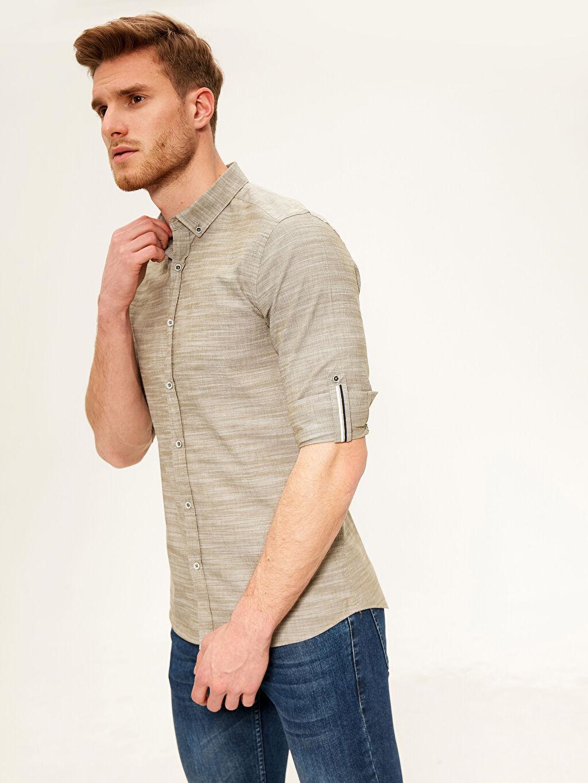 %100 Pamuk Dar Düz Uzun Kol Gömlek Düğmeli Slim Fit Kırçıllı Gömlek