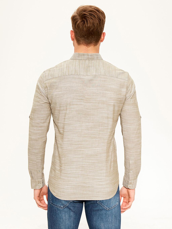 %100 Pamuk Slim Fit Kırçıllı Gömlek