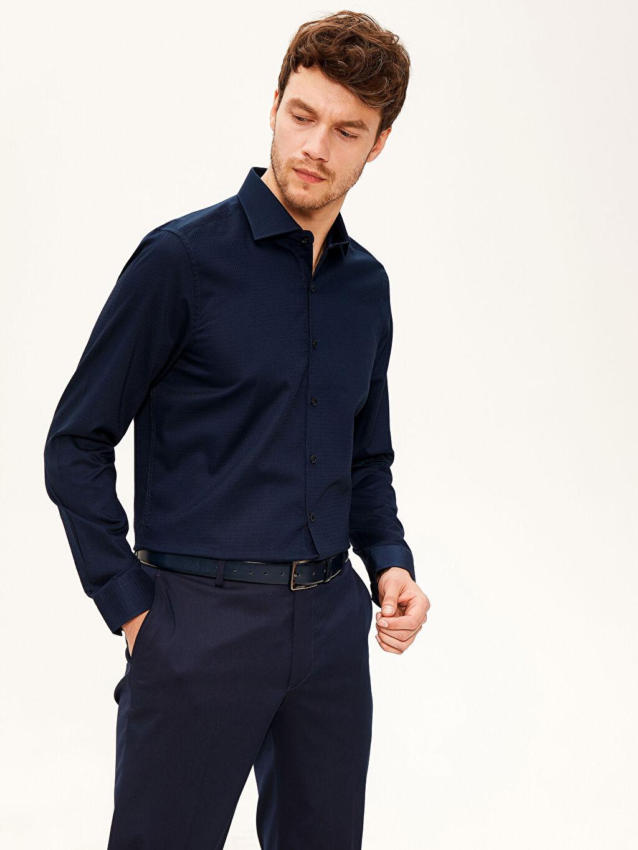 %58 Pamuk %42 Polyester Dar Düz Uzun Kol Gömlek Düğmesiz Slim Fit Armürlü Gömlek