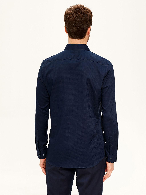 %58 Pamuk %42 Polyester Slim Fit Armürlü Gömlek