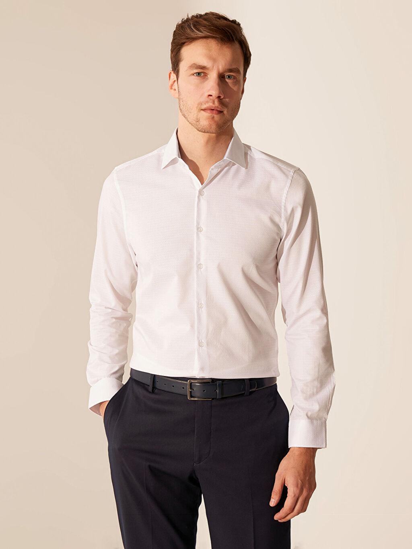 %61 Pamuk %39 Polyester Dar Düz Uzun Kol Gömlek Düğmesiz Slim Fit Armürlü Gömlek