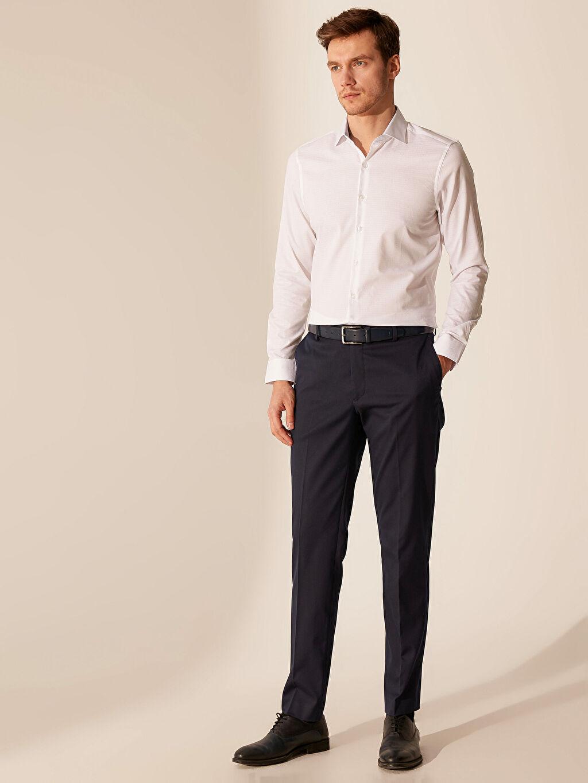 %61 Pamuk %39 Polyester Slim Fit Armürlü Gömlek