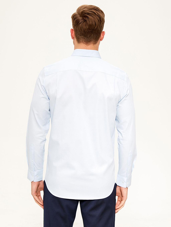 %60 Pamuk %40 Polyester Normal Düz Uzun Kol Gömlek Düğmesiz Regular Fit Armürlü Gömlek