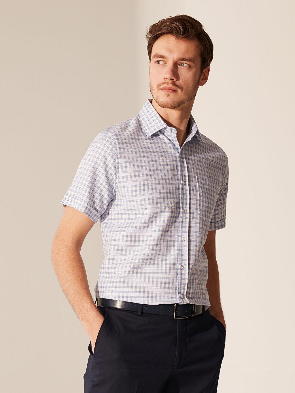 %55 Pamuk %45 Polyester Normal Ekoseli Kısa Kol Gömlek Düğmesiz Regular Fit Ekose Kısa Kollu Gömlek