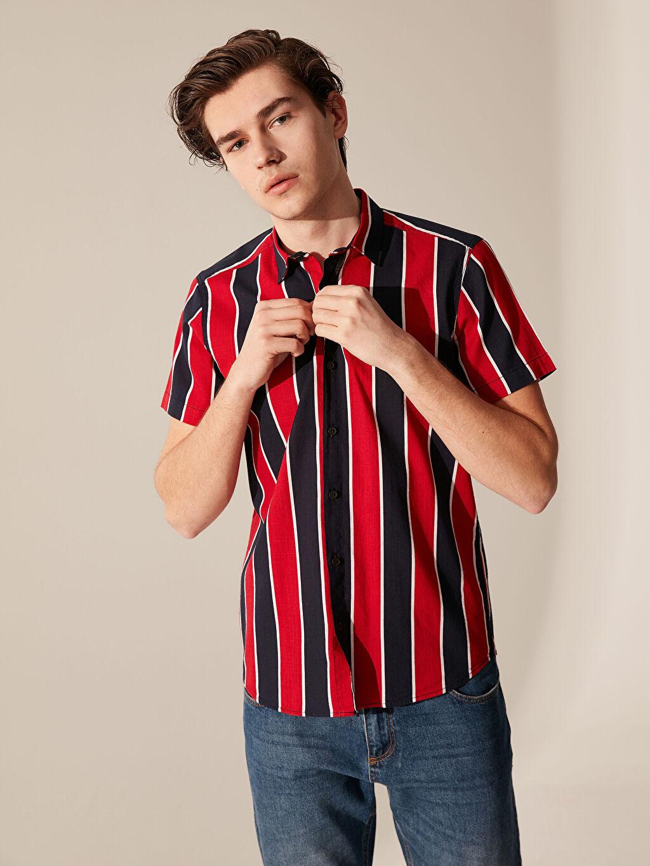 Kırmızı Ekstra Slim Fit Çizgili Gömlek 0S8344Z8 LC Waikiki