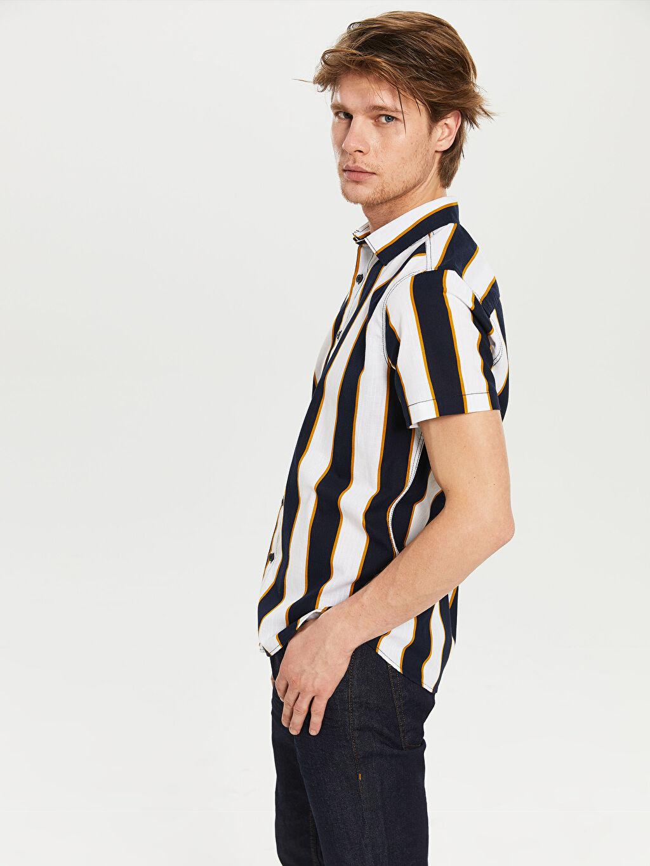 Erkek Ekstra Slim Fit Çizgili Gömlek